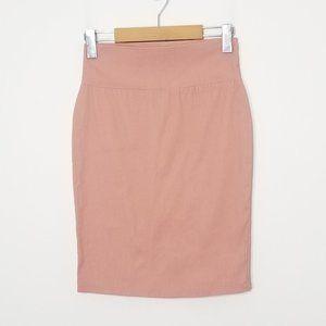 Twik   Pale Pink Stretch Pencil Skirt Kick Slit XS